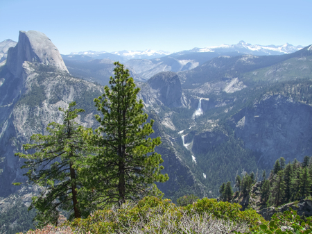 panoramic view with waterfall at the Yosemite National Park in California, USA