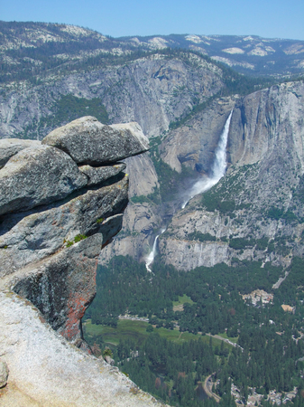 high angle view with rock formation and waterfall at the Yosemite National Park in California, USA