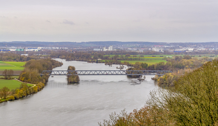 high angle scenery around Danube river near Regensburg in Bavaria in Germany at autumn time