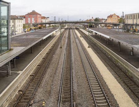 high angle view showing a part of the railway station in Regensburg, a town in Bavaria in Germany 스톡 콘텐츠