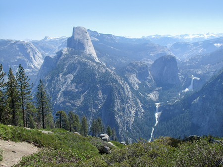 high angle view with waterfall at the Yosemite National Park in California, USA Stock Photo