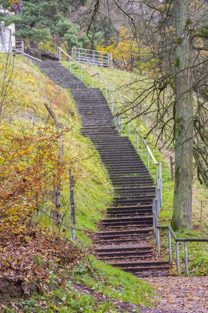 historic stairway around the Walhalla memorial near Regensburg in Bavaria, Gerrmany at autumn time Stock Photo