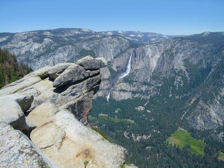 aerial view with rock formation and waterfall at the Yosemite National Park in California, USA