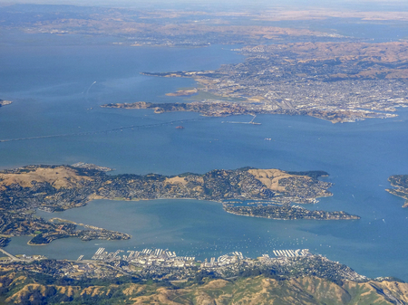 aerial view around the San Francisco Bay in California in USA