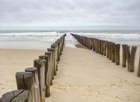 coastal beach scenery at the North Sea near Domburg in Walcheren in the dutch province of Zeeland