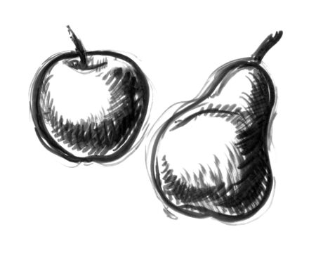 black and white apple and pear illustration Stock fotó