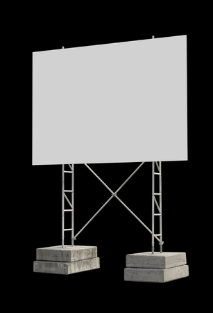 big blank construction sign with stand isolated in black back