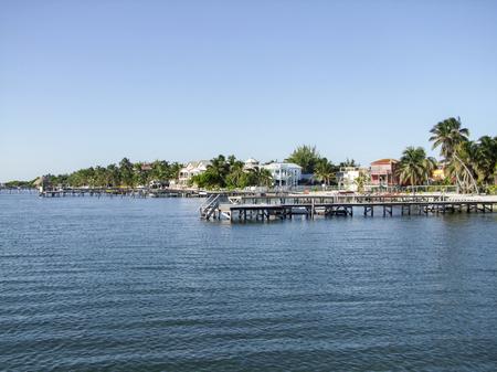 sunny coastal scenery around Caye Caulker in Belize in Central America Stock Photo