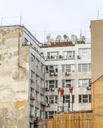 rundown tenement detail seen in Prague, the capital city of the Czech Republic