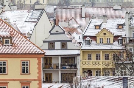 impression of the czech capital named Prague at winter time Фото со стока