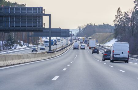 road scenery on a highway at winter time