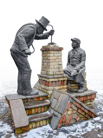 Chimney sweeper sculptures seen in Riga, the capital city of Latvia