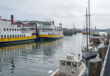 Harbor scenery in Portland, a city in Maine, USA 스톡 콘텐츠
