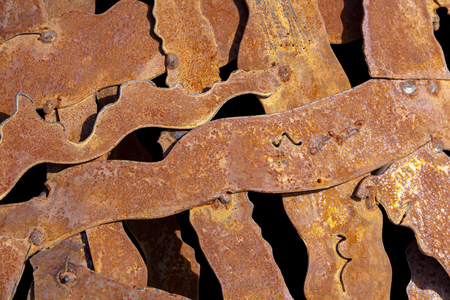 Full frame abstract segmented rusty metal