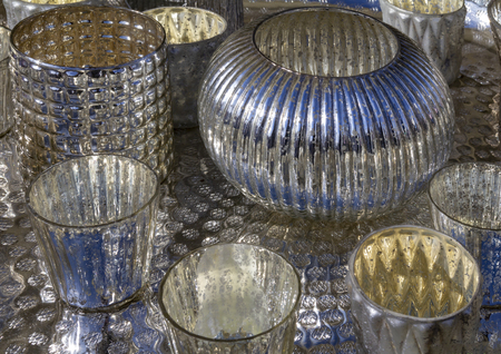 Closeup shot showing some reflective tableware