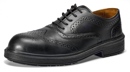 Black lace-up leather shoe in white back with shadow