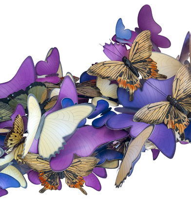 Colorful butterfly ornament made of paper isolated in white back Stockfoto