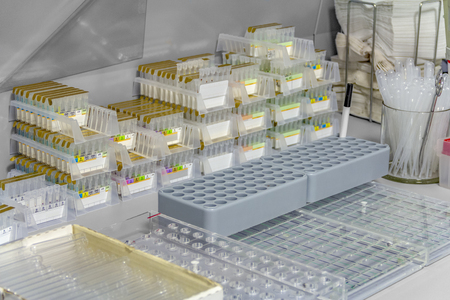 Detail of a workplace for microbiological research Standard-Bild - 115382060