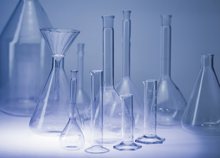 Variety of laboratory glassware in blue ambiance