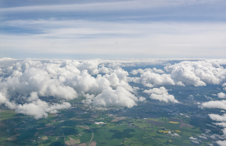 Aerial scenery above Ireland in sunny ambiance Standard-Bild - 115382016