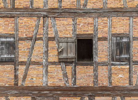 Detail of a historic rural house facade seen in Southern Germany Standard-Bild - 115381767