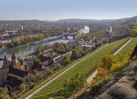 View of Wuerzburg, a franconian city in Bavaria, Germany