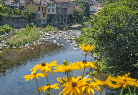 Sunny scenery around Vals-les-Bains, a commune in the Ardeche department located at the Volane river in southern France