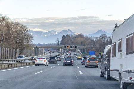 Highway scenery at evening time in Southern Germany