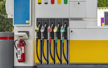 Detail shot of a filling station Stock Photo