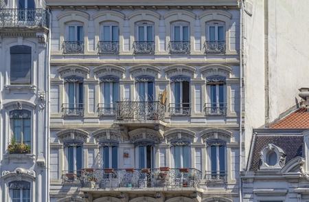 Sunny illuminated house facade in France