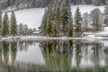 lake named Hintersee in Bavaria at winter time