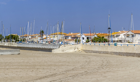 coastal scenery at Saintes-Maries-de-la-Mer, the capital of the camargue in the south of France Stock Photo - 120996742