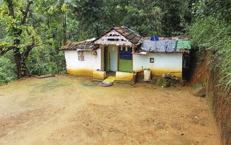 poor hut in the jungle seen in Sri Lanka