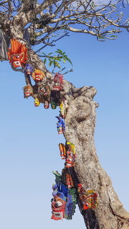 sunny scsnery including a tree with colorful traditional masks hanging on it, seen in Sri Lanka Imagens