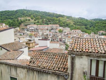 aerial view showing a comune in Sicily named Castiglione di Sicilia Imagens