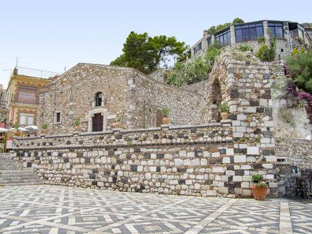sunny impression of Castelmola in Sicily, Italy