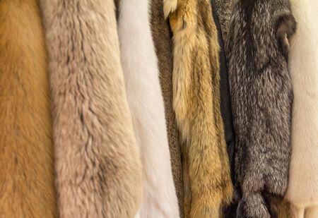 various hanging fur pieces seen at a medieval market Stock fotó