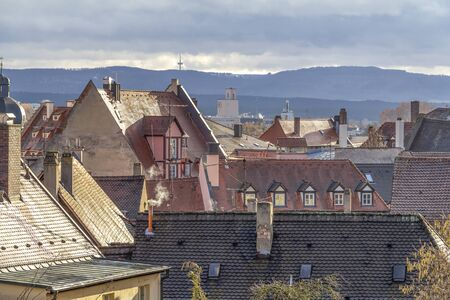 high angle view of Bamberg, a town in Upper Franconia in Bavaria, Germany