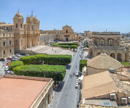 high angle scenery around Noto Cathedral in a city named Noto located at Sicily in Italy