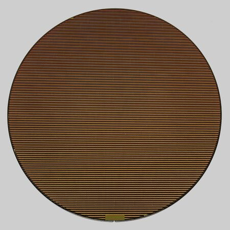 frontal shot of a wafer in grey back