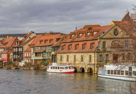 idyllic riverside scenery in Bamberg, a town in Upper Franconia, Germany