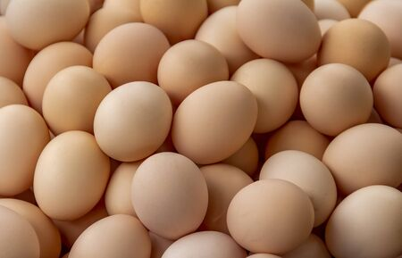 full frame background showing lots of brown eggs