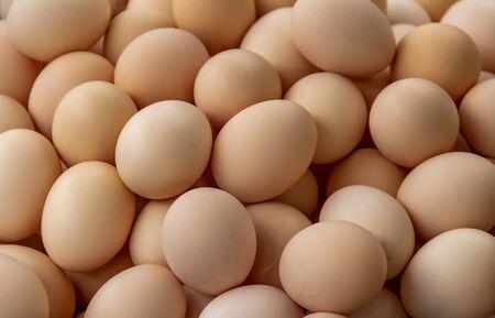 pełnoklatkowe tło pokazujące dużo brązowych jaj
