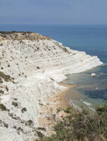 rocky cliff named Scala dei Turchi on the coast of Realmonte in southern Sicily, Italy Imagens