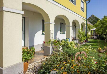 sunny garden scenery in Podersdorf am See in Burgenland in Austria