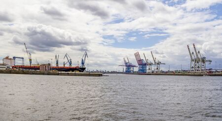 scenery seen at the Port of Hamburg in Germany Standard-Bild