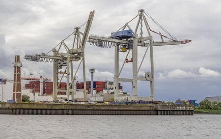 container terminal scenery seen at the Port of Hamburg in Germany
