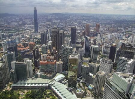 high angle aerial view around Kuala Lumpur City Centre in Malaysia