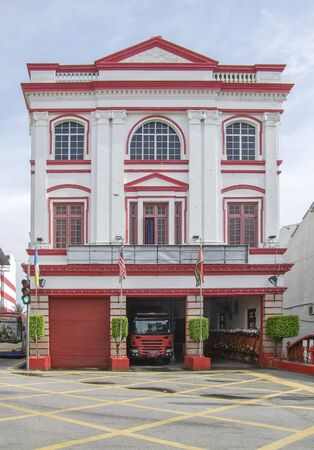 historic fire department building in George Town at Penang Island in Malaysia