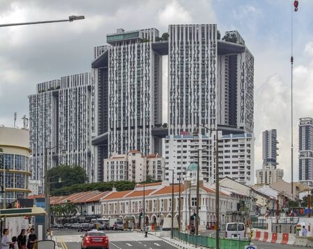 scenery around the Pinnacle at Duxton building in Singapore